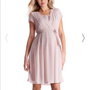 Blush Pink Pleated Maternity & Nursing Dress